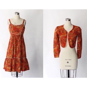 1970s Batik Cotton Dress & Matching Jacket Set